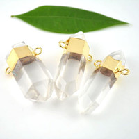 druzy jewelry - 5pcs Gold Plated Edge Natural Clear Quartz Druzy Drusy Crystal Connector Pendnat Druzy Gem Stone Pendant Charms Jewelry Making