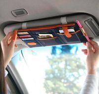 Wholesale Hot Korea Style Car Sunvisor Point Multi Pocket Hang Storage Organizer Arrangement Bag of Sun Visor Colors