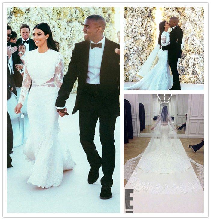 Custom See Through Kim Kardashian Wedding Dresses 2014 Mermaid ...