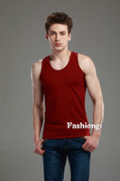 Mens Summer Quality Wine Red Cotton Sleeveless Tank Top #261...