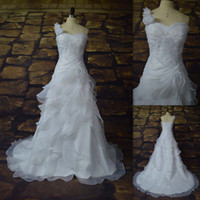 Cheap A-Line White Wedding dresses Best Real Photos One-Shoulder One Shoulder Wedding gown