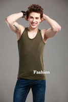 Mens Summer Quality Olive Green Cotton Sleeveless Tank Top #...