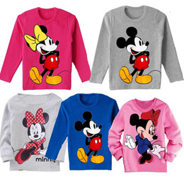 Retail ashion baby boys gilrs cartoon mouse long sleeve t-shirt kids casual top children's cotton clothing cute kids cartoon tops