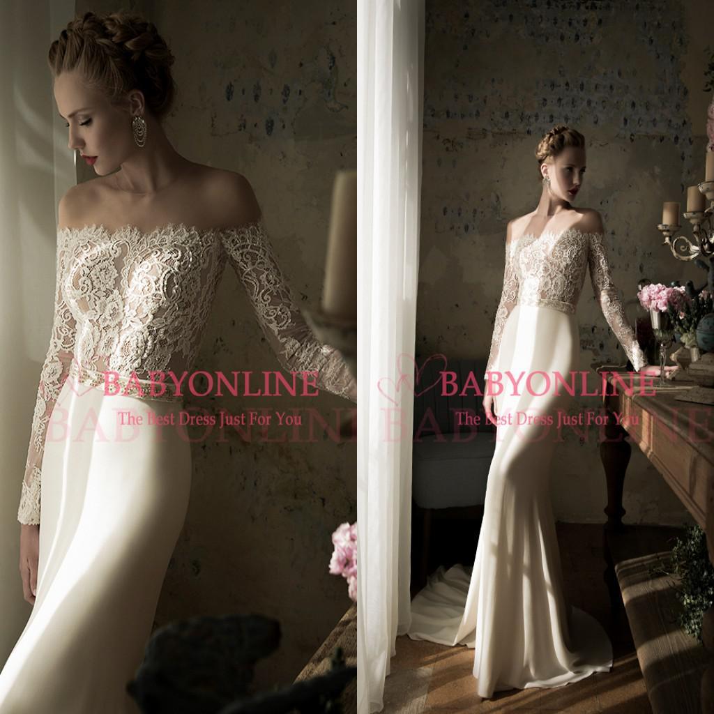 2015 f The Shoulder Mermaid Wedding Dresses Lace Bridal