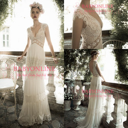 Wholesale 2015 New Sexy V neck Lace Sheath Wedding Dresses Chiffon Summer Beach Wedding Dress Sexy Backless Bridal Gowns LH1405