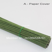 Wholesale mm cm length Paper or PVC green pachets with wire artificial flower stem