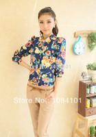 Women Rayon Appliques NEW Women turn Down collar button chiffon Shirt top lady Casual floral Flower full Sleeve shirt Tops
