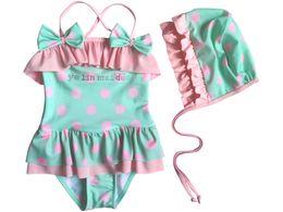 Wholesale Children s Swimwear Girls dot bow swimsuit bikini girl Swimwear Including hats fre2