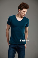 Mens Quality Blue Cotton V- Neck Short Sleeve T- Shirt #26116