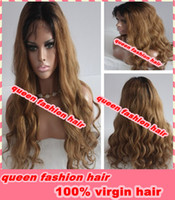 Wig,Half Wig queen hair Human Hair Hotsale !! high quality body wave brazilan virgin human hair ombre color #1b #8 two tone lace front wig free shipping