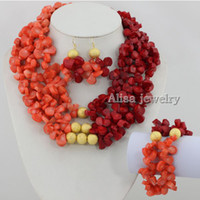Wholesale 2014 New Simple Fashion Red Coral Beads Jewelry Set Wedding amp Party Necklace Statement Red Coral Necklace Bracelet EarringsWS