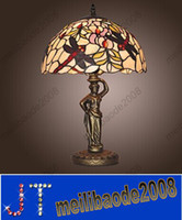 Wholesale style Dragonfly Pattern Stained Glass Table Light Electroplated Finished Table Lamp Indoor Multi Color Desk Light HSA411