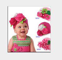 Unisex beanie babies barrettes - NEW Baby hats girls hat headband barrette headdress flower beanie hair pin clip capsKnitted hat handmade flowers hat Christmas hat