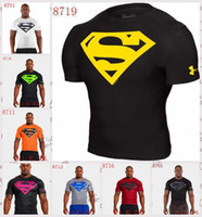Wholesale MEN S UA Armour Superman Batman Spiderman Hulk Wu Tang Kill Heatgear Pro Squeeze COMPRESSION Short SLEEVE stretchy SS Tee T Shirts Styles