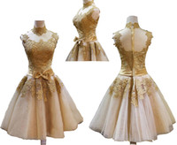 Reference Images High Neck Organza 2014 Most Popular High Collar Graduation Dresses With Appliques A-Line Short Mini Party Prom Gown Evening Dress Back Zippered Real Picture