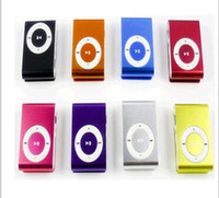 Wholesale 8 colors Mini Clip Mp3 player with earphones usb cables retail box support Micro SD TF card GB Sport Mp3 DHL EMS Ship