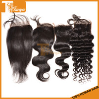 Wholesale 100 Brazilian Human Hair Free Part Body Loose Wave Deep Curly Straight Lace Closure inch Length b Virgin Hair Bleached Knots
