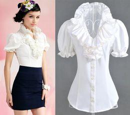 Wholesale shirt women best quality new arrival woman shirts slim short puff sleeve summer ruffles tops clothing white dark blue