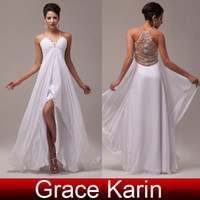 Model Pictures beadings brand new - New Brand Sexy Chiffon Prom Dresses V and Halter Neckline Slit Sheer Back Long White Evening Dress Gown with Beadings CL6070