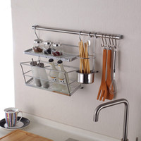 Wholesale IKEA Style Kitchen Storage Rack Including Double Flavoring Rack Sloping Side and Chopstick Holder cm Hanging Rod and Hooks