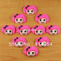 TV & Movie Character Holiday Decoration & Gift Other Wholesale 50pc Hot Pink Hair Lalaloopsy Resin Cabochon Flatbacks Flat back Scrapbooking Hair Bow Center Crafts Embellishment DIY
