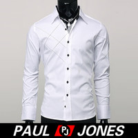 Wholesale Good Quality PJ New Mens Polyester Slim Fit Patched Long Sleeve Casual Dress Shirts for Men Size White Black CL1053
