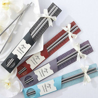 Wholesale East Meets West Stainless steel chopsticks Chinese Asian wedding favors guest gifts pair