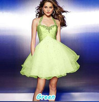 Real Photos One-Shoulder Organza A-Line Sexy Short Prom Dresses 2014 New Arrival Green, Blue, Purple Color for Choosing Under 50 USD Cheap but Good z1
