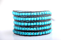 Charm Bracelets Asian & East Indian Women's 5Row twine bracelet Turquoise Dark coffee Geniue leather rope chain with stainless steel clasp women bracelet & bangles