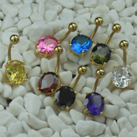 Navel & Bell Button Rings Men's Gemstone MIX 8 COLOR LARGE PRONG SET CZ GOLD BELLY RING BODY PIERCING NAVEL BAR