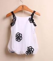 Girl Summer Cotton Blends 2014 Summer Children Girls Fashional Sleeveless T-shirts Korean Kid's Cute Flower Printed Tops Child Lovely Lace Suspender Tee Shirts I1160