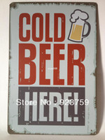 Antique Imitation Europe Tag Cold beer here Tin Sign Bar pub home Wall Decor Retro Metal Art Poster NW12