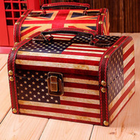 Synthetic board hand painted jewelry box - zakka grocery retro British style hand painted jewelry box suitcase creative British flag United States flag