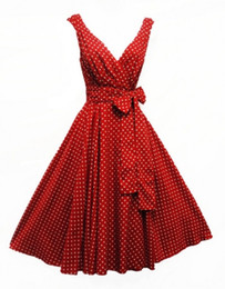Wholesale R1146 Vintage New Ladies Vtg s style Polka Dot Rockabilly Cotton Summer Swing Tea Dress many colors S XL
