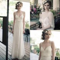 Sheath/Column 2014 Sheer Bridal Jacket - 2014 Simple Beach Sheath Spaghetti Strap Applique Lace New Bridal Gown Pearls Sash Chiffon Wedding Dresses White Sheer Jacket DL1312126