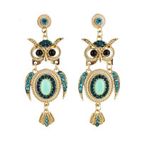 Wholesale Fashion Blue Rhinestone Owl Shape Gold Color Zinc Alloy Trendy Designer Drop Earrings New Brincos for Women