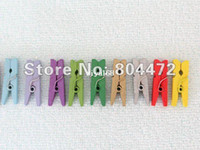Wholesale 200x Mini mm Wooden Clothes Clip Wood Peg Craft Clothespin Decration w assorted colors New Color Arrive