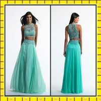 Cheap Reference Images Two Pieces Prom Dresses Best Jewel/Bateau Chiffon Chiffon Lace Prom Dresses