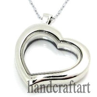 Wholesale 5PCS mm Silver Heart magnetic glass floating charm locket Zinc Alloy chains included for free