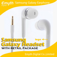 For Samsung   Handsfree Earphone Headset with MIC and Volume Control headphone for Samsung Galaxy S4 SIV i9500 S3 Note 2 Note 3 with retail box Quality