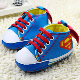 Wholesale 2014 New Baby Boys High Top Shoes blue Superman Modelling Toddler shoes soft sole baby Walkers pairs