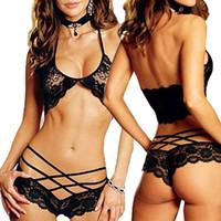 Wholesale S5Q Black Sexy Set Women s Babydoll Sleepwear Nightwear Lingerie Lace Bra Underwear AAADID