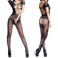 fishing see - S5Q Sexy Women s Lingerie Nightwear Open Crotch Fish Net Bodysuit Body Stocking AAADIB