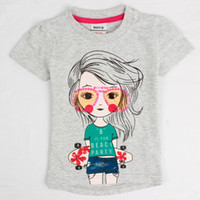 Wholesale cute baby girl clothes nova brand short sleeve summer tops for girls sequin stretch cheap grey t shirt K4970