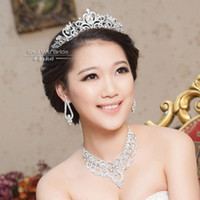 Wholesale Water Dance new bangs Korean bride wedding tiara crown necklace jewelry wedding jewelry sets of chains