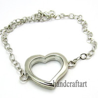 Lockets South American Women's 5PCS !! 30mm Silver Heart magnetic glass floating locket bracelet Zinc Alloy Accessory Wholesale fashion bracelet
