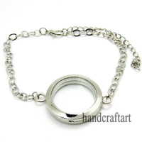 Wholesale 5PCS mm Silver Round magnetic glass floating locket bracelet Zinc Alloy Accessory FL0069