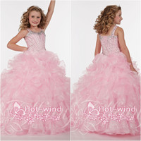 Reference Images Girl Beads Crystals Beads Cascading Ruffles Square Neckline Lace Up back Pink Girl's Pageant Dresses Cheap Little Girl Dress Ball Gowns Beading TF13382