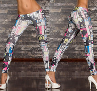 Wholesale mix colors womens leggings sexy Jeans graffiti painting printed tight skinny low waist ladies tights long pants xmas clothes