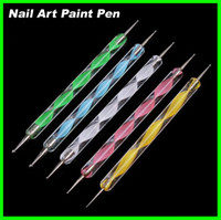 Wholesale Best price sets Nail Art Tool Steel Dotting Marbleizing Pen Nail Art Paint Pen Decoration Nail Art Manicure Tool